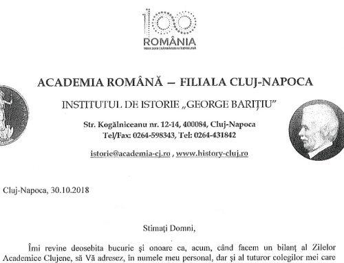 Scrisoare de mulțumire Academia Română – Filiala Cluj-Napoca
